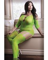 Sheer Fantasy Stargazing Cold Shoulder Bodystocking Neon Green