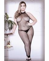 Sheer Feelin Myself Halter Dot Fishnet Footless Bodystocking Black