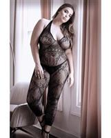 Sheer Good as Hell Halter Lace Footless Bodystocking Black