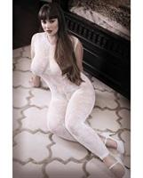 Sheer Fantasy Lace Edge Floral Bodystocking w/Keyhole Back Detail White