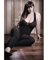 Sheer Fantasy Opaque Bodystocking w/Criss Cross Back Detail Black
