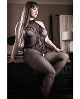 Sheer Fantasy Lace Halter Bodystocking w/Ornate Tattoo Detail Black