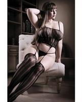 Sheer Fantasy Striped Gartered Bodystocking Black
