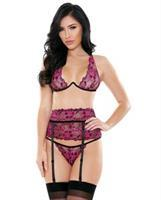Tease Janelle Two Toned Lace Underwire Bra, Garter Belt and G-String Black/Pink