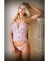 Tease Harper Lace Up Cami and Panty Pink