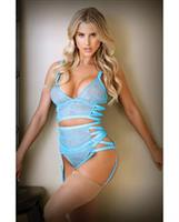 Tease Keira Criss Cross Bralette, Garter Belt and Panty Blue
