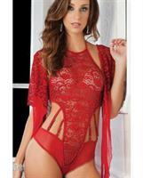 High Neck Lace Halter Teddy Vermillion