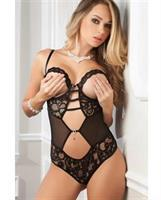 Open Wired Cup Lace and Mesh Teddy Black