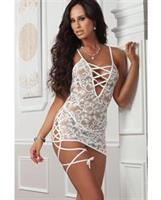Lace Mini Strappy Slip and Thong Pearl