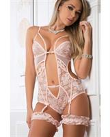 Cut Out Lace Garter Romper w/Snap Crotch Rose Pinot