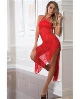 Shoulder Baring Laced Night Dress Bright Cherry