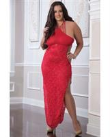 Shoulder Baring Laced Night Dress Red