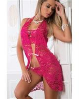 Laced Lingerie Bustier, Thong and Cover up Slip Berry Kiss