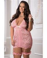 Halter Garter Dress w/Stockings Sweet Pink