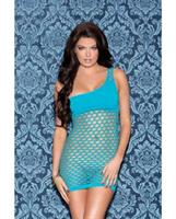 One Shoulder Solid and Diamond Patterned Seamless Dress Teal
