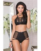 Lace Up Lightly Padded Underwire Bra and High Waisted Panty Black