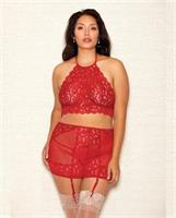 Halter Bra, Garter Skirt and Panty Red