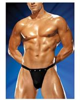 Male power rip off thong with studs black