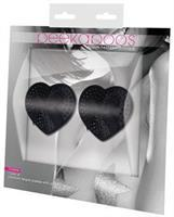 Peekaboos Satin w/Black Stone and Bow Premium Pasties - 1 Pair Black