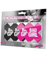 Peekaboos Bad Girl Pasties - 2 Pairs 1 Black/1 Pink