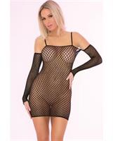 Pink Lipstick Bad Intentions Fishnet Dress Black