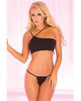 Pink Lipstick Asymmetrical Seamless Bra and G-String Black