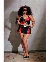 6 pc Stretch Knit Halter Crop w/Zipper and Adjstble Strps, Skit, 2 Masks and 2 Hair Ribbns Blck/Red