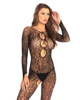 Rene Rofe Crotchless Lace Bodystocking Black