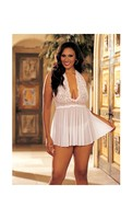 Sheer Halter Babydoll w/Lace and Bow White
