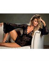Stretch Lace Bodysuit w/Long Bell Sleeves Black