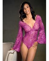 Stretch Lace Bodysuit w/Long Bell Sleeves Magenta