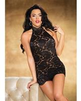 Stretch Lace Chemise w/Halter Neck and G-String Black