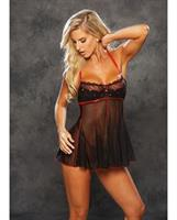 Valentines Sheer Babydoll w/Embroidered Hearts Black/Red