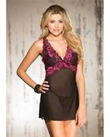 Two Tone Stretch Lace and Mesh Chemise w/Lined Cups, Adjustable Straps and G-String Black/Hot Pink