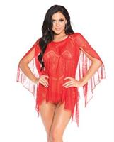 Sheer Lace Poncho w/G-String Red