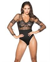 Mesh and Lace Long Sleeve Teddy Black
