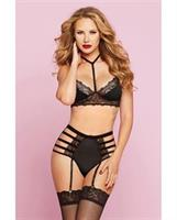 Galloon Lace and Microfiber Bra w/Adjustable Straps and High Waisted Panty Black
