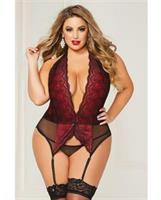 Lace Overlay and Mesh Chemise, Adjustable Garter Straps and Thong Black