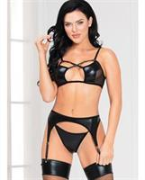 Lame and Mesh Bra, Garterbelt and G-String Black