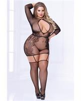 Seamless Floral Pattern Bodystocking Dress Black