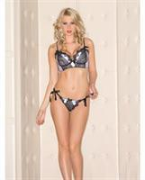 Satin Bra w/Lace Overlay and Eyelash Lace Trim and Thong w/Side Ties Black/White
