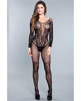 Lace Crotchless Bodystocking w/Lace Thigh High Detail Black