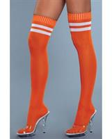 Ribbed Athletic Thigh Highs Orange