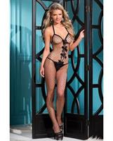 1 pc Bow Accented Fishnet Bodystocking w/Thin Shoulder Straps Black