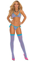 Striped string bra- tie side thong and matching stockings