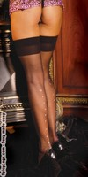 Sheer thigh hi with rhinestone back seam