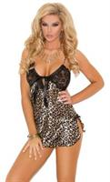 Charmeuse Print Chemise with Lace Cups