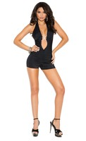 Lycra halter neck romper with jewel accent. Romper has front and back ruching.