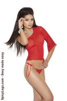 Mesh one shoulder top and g-string