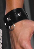 Leather wrist cuffs with square nail heads & O rings